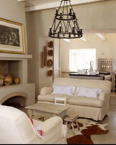 Beige Painted Rooms | ... sofa, Monochromatic, chic living room space Mediterranean living room
