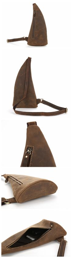 Handmade Rustic Leather Sling Bags Men Crossbody Bag Chest Bag
