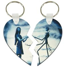 Share a Jack Skellington and Sally split heart key tag with the one you love. Featuring Jack and Sally in a romantic encounter on Spiral Hill, each half of this lover's key tag can also be used to hang from the rearview mirror, as a Christmas ornament, and they make really awesome gift tags for a finishing touch to that special package.