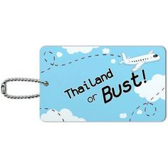 Thailand or Bust Flying Airplane ID Tag Luggage Card for Suitcase or Carry-On, Multicolor