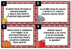 Subtraction word problems in Spanish for first and second grade. Fall theme. Two sets included for differentiation. Ideal for students in Spanish immersion, bilingual and dual language classes. Problemas de cuento de restas o subtracion.
