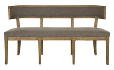 """Our simple, yet sophisticated Poppy Dining Bench is a stylish alternative to traditional dining chairs. Handcrafted of oak, Poppy sports soft curves and detailed carving along with canvas upholstery and welt detail. Poppy would also be great in an entry or hallway if space allows.      •handcrafted oak frame  •grey washed oak wood finish  •upholstered in flagstone cotton canvas  •welt detail    Dimensions  •overall: 59""""W x 22""""D x 32""""H  •seat depth: 19""""D  •seat height: 19.5""""H"""