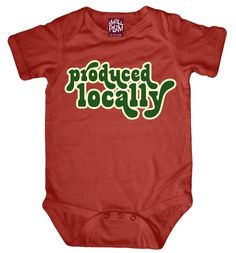 "This hilarious onesie is sure to get a few good laughs - perfect if you are looking for that unique baby shower gift.  And it's 100% bamboo organic to boot!  Silky soft and made of hypoallergenic, anti-microbial bamboo organic cotton, these onesies wick water up to four times faster than cotton.  Processed naturally, and with PVC-free, water-based screen print.Packaged in a sweet gift box, this ""Produced Locally"" onesie is sure to be a hit!"