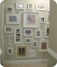 gallery idea...put a dab of toothpaste in the middle of the back of the frame and press where you want it on the wall..then you know where to hang the nail...genius!!