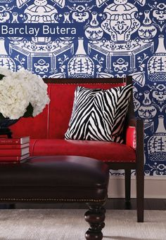 Barclay Butera - antique settee in cherry red, Clarence House vase wallpaper, zebra