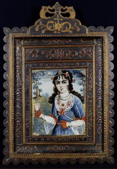 A reverse glass painting Persia, 19th century portrait of a maiden holding a small glass beaker, with a landscape in the background, mounted and framed 62.6 x 43.1 cm.