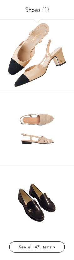 """""""Shoes {1}"""" by hannah-of-lothlorien ❤ liked on Polyvore featuring shoes, pumps, heels, chanel, heel pump, sandals, flats, footwear, peep toe slingback flats and slingback flats shoes"""