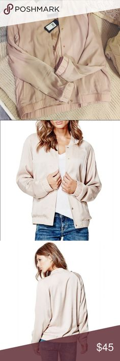 NWT SATIN BOMBER JACKET Guess Brand new with tags purchased from GUESS! Really soft and comfy and super trendy. Can be layered or not to make it warmer or cooler. Guess Jackets & Coats Utility Jackets