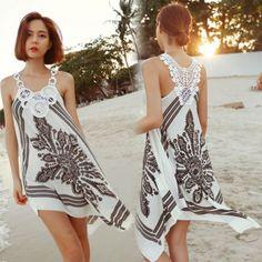 Tienda Online novelty dresses handmade crochet beach dress skirt one-piece dress casual dress Scarf Dress, Diy Dress, Dress Skirt, Tank Dress, Crochet Beach Dress, Crochet Summer Dresses, Vestidos Vintage, Vintage Dresses, Beach Dresses