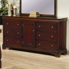 coaster furniture 201483 versailles 6 drawers dresser in mahogany with door 201483 want additional info
