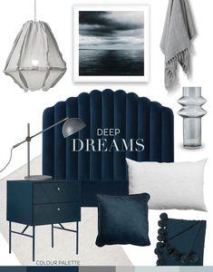 Trend: Deep Dreams — Adore Home Magazine Blue Bathroom Decor, Bedroom Decor, Bedroom Ideas, Ocean Bedroom, Master Bedroom, Greenhouse Interiors, Blue Bedding, House And Home Magazine, Apartment Living