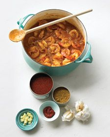 Shrimp tikka masala.  This recipe can also be made with one pound of sliced skinless  chicken breasts. Both variations pair well with mango chutney.