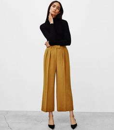 5 Steps to Develop a Fashion Sense From Scratch wide legged mustard gold pants Mode Outfits, Office Outfits, Casual Outfits, Fashion Outfits, Fashion Trends, Office Wear, Casual Wear, Simple Outfits, Skirt Outfits