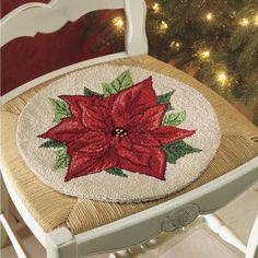 Poinsettia Hand-Hooked Chair Pad - Stylish Home Accents and Décor - Graceful Clothing, Accessories & Jewelry