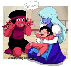 """OP: """"Ruby and Sapphire secretly unfusing sometimes because they can't handle Steven with just a pair of hands""""   Steven Universe"""