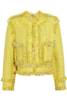 Lanvin|Frayed tweed jacket|NET-A-PORTER.COM