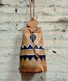 leather boho bucket tassel bag, Navajo | £37.00 | The Stellar Boutique | fashion shop | vintage clothing | boho clothing