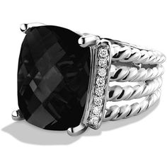David Yurman Wheaton Ring with Diamonds ($805) ❤ liked on Polyvore featuring jewelry, rings, apparel & accessories, diamond jewelry, diamond jewellery, pave diamond ring, david yurman jewellery and david yurman rings