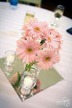 centerpiece featuring gerber daisies