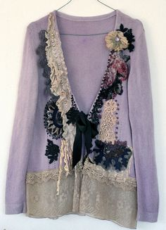 Victorian-- unique shabby chic mohair jacket, wearable art, textile collage with antique lace,  beading,