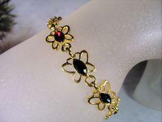 1970s, Butterfly Bracelet, Gemstone Butterfly Bracelet, Multicolored Butterfly…