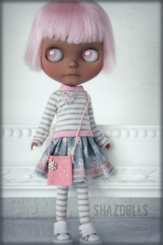 Spring - Summer Romantic Grey/Pink Outfit for Blythe Doll