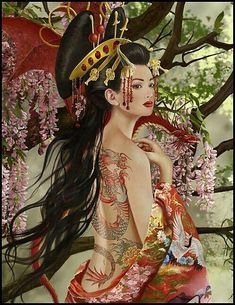 The pose and hairstyle are pretty Geisha Tarot. The hairstyle and tattoos bring a fantasy element to the Geisha idea that should definitely be incorporated into this deck. Art Geisha, Geisha Kunst, Samurai Warrior Tattoo, Warrior Tattoos, Fantasy Kunst, Fantasy Art, Final Fantasy, Pictures With Meaning, Film Anime