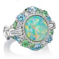 56ca0b827dab Robert Pelliccia Lightening Opal Diamond   Gemstone White Gold Ring Uñas  Azules