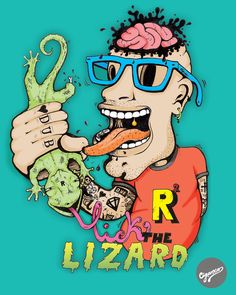 "Illustration - ""Lick the Lizard"" by Cláudio Cigarro, via Behance"