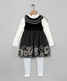 Black Polka Dot Dress Set - Toddler & Girls