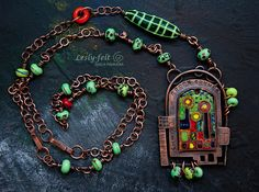 Enameled copper jewelry long chain bright pendant