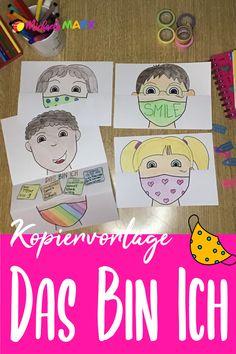 Hier findest du eine ganz neue Bastelanleitung für den Schulstart! Passend zur aktuellen Zeit tragen die Kinder auf dem Bild eine Maske.   Die SchülerInnen können das Bild anmalen und nach ihren Wünschen gestalten. Die Vorgaben der Kopiervorlage sind nur rudimentär und lassen viel Spielraum für die Gestaltung des Selbstportraits.   #learngermanwithfun #lehrermarktplatz #sommerferien #schulanfang #schuljahresende #corona #grundschule #schule German Resources, Homeschool, Family Guy, Fictional Characters, Corona, School Social Work, Beginning Of School, Further Education, Back To School