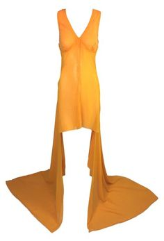 0ddac685c3f 1990 s Jean Paul Gaultier 20 s Flapper Style Sheer Marigold Hi-Low Gown  Dress