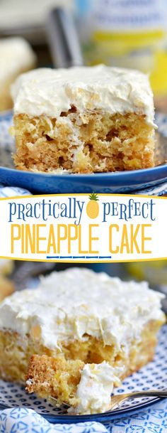 This Practically Perfect Pineapple Cake is loaded with pineapple flavor! Made without butter or oil, it's incredibly moist and topped with a delicious pineapple fluff frosting! // Mom On Timeout (chocolate cake frosting mom) Pineapple Desserts, Pineapple Recipes, Moist Pineapple Cake Recipe, Recipes With Crushed Pineapple, 13 Desserts, Delicious Desserts, Pineapple Fluff, Cake With Pineapple, Pineapple Frosting