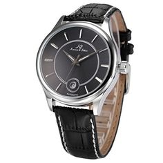 KS-KS261, Men's Automatic Mechanical Watch Analog Date Display Black Leather Band by KS -- Awesome products selected by Anna Churchill