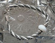Kumihimo Bracelet  Gray & White with White by goosecrossingfarm, $16.00