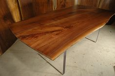 Carroll Custom Walnut Slab Dining Table With Acrylic Base   Dumondu0027s Custom  Furniture