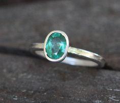 Hammer Forged Argentium Sterling Silver .85ct Natural Dark Green Zambian Emerald Wedding Ring