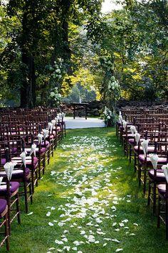 White petals outdoor wedding