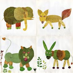 A Modern Fable: animals made from leaves