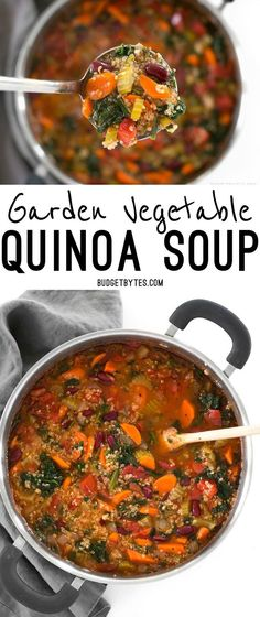 Garden Vegetable Quinoa Soup is a low calorie, high fiber, flavor packed meal perfect for your weekend meal prep. @budgetbytes