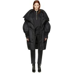 Chen Peng Black Oversized Puffer Jacket ($1,135) ❤ liked on Polyvore featuring outerwear, jackets, black, stand up collar jacket, down filled jacket, snap jacket, puffer jacket and feather jackets