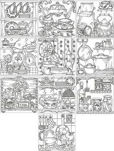 Advanced Embroidery Designs - Kitchen Redwork Set III