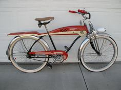 1953 Huffy Dial A Ride - Dave's Vintage Bicycles Retro Bicycle, Old Bicycle, Old Bikes, Bicycle Shop, Velo Beach Cruiser, Cruiser Bicycle, Beach Cruisers, Vintage Cycles, Vintage Bikes