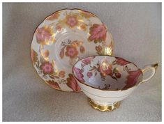 Tea Cup Saucer, Tea Cups, Royal Stafford, Pink And Gold, Decorative Bowls, Pottery, Tableware, Floral, Ruby Lane