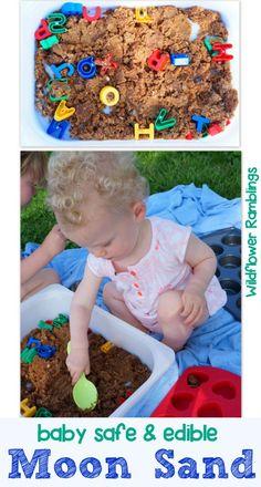 BABY SAFE & EDIBLE MOON SAND {12 MONTHS OF SENSORY DOUGH} - wildflower ramblings