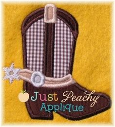 Cowboot Boot Shoe 2 Applique Machine by JustPeachyApplique on Etsy, $4.00
