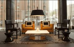 Simplicity Of Gorgeous Furnishings And Bold Colors Of Fitzwilliam Hotel Lobby With Modern Orange Armchairs And Upholstered Black Wood Chairs: Great Lobby Design ideas for Cozy Waiting Place Hotel Interiors, Office Interiors, Sala Vip, Hotel Lobby Design, Custom Lamp Shades, Design Café, Design Ideas, Design Projects, House Design