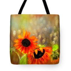 """Sunflower Rain Tote Bag (18"""" x 18"""") by Sand And Chi  .  The tote bag is machine washable, available in three different sizes, and includes a black strap for easy carrying on your shoulder.  All totes are available for worldwide shipping and include a money-back guarantee."""