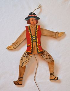 Vintage Articulated  Hand Made Wooden Puppet